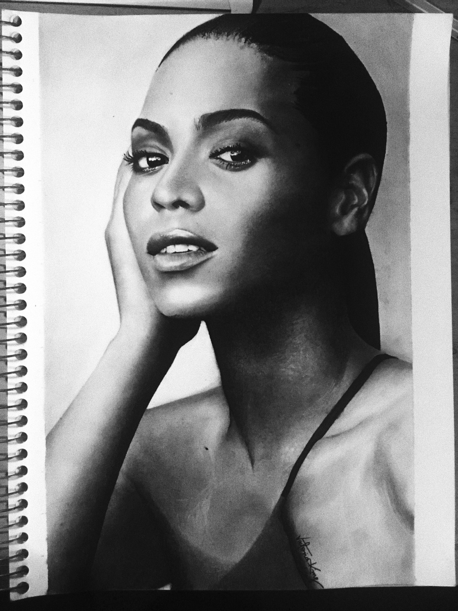 Beyoncé Knowles on Acid free paper drawn with Charcoal and Graphite by Victoria King| ART